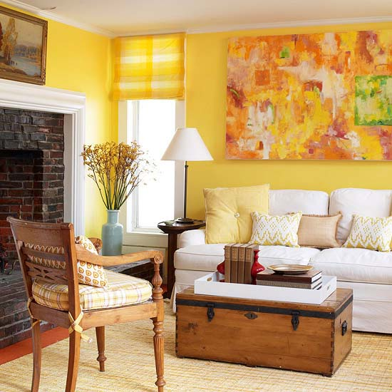 Decorating with colour what you need to know wood Bright yellow wall paint