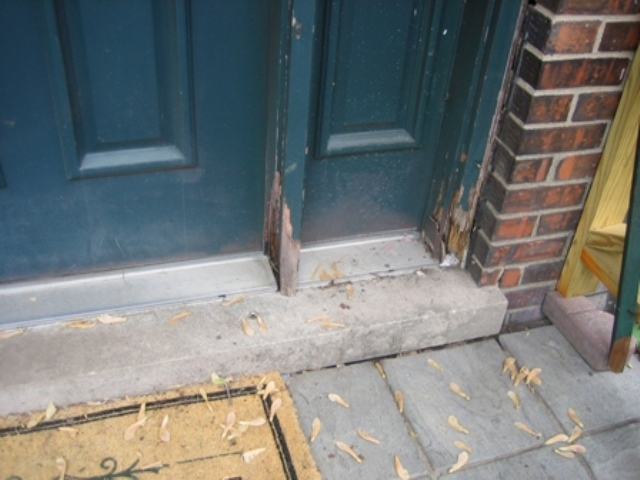 Water damage to exterior wood door