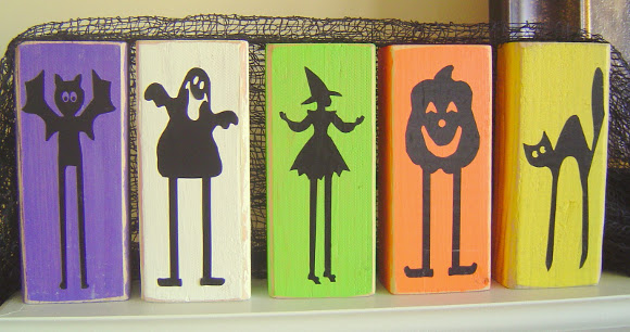 Halloween wood block silhouettes