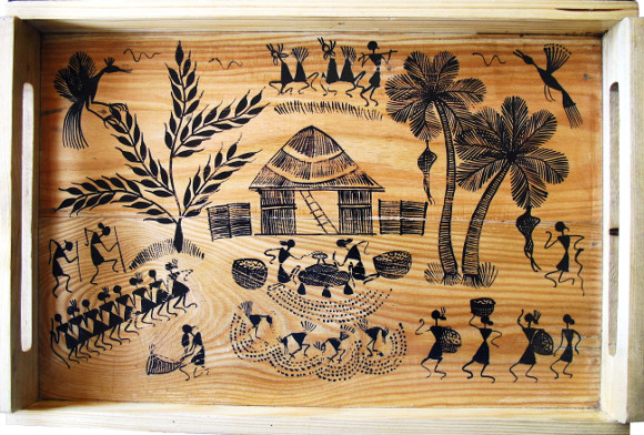 Painted wooden tray