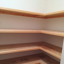 unfinished wood shelves