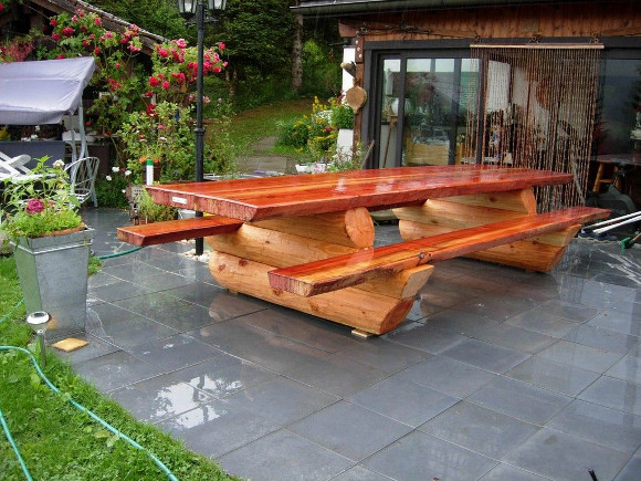 Brilliant wood garden furniture treatment promo 15 off for Table basse rondin de bois