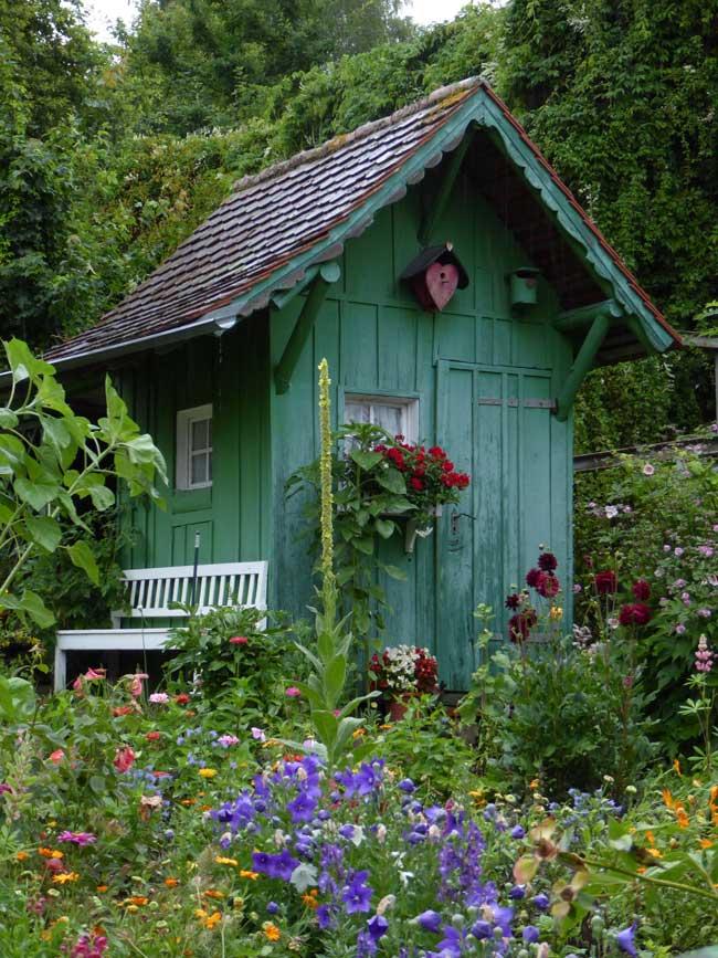 Colourful garden retreat amongst flowers