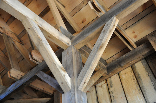 New wood beams used to replace old in restoration project
