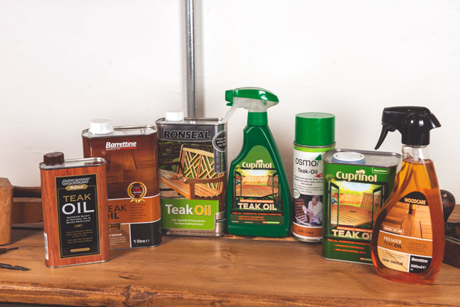 Traditional teak oil products commonly used on hardwood surfaces