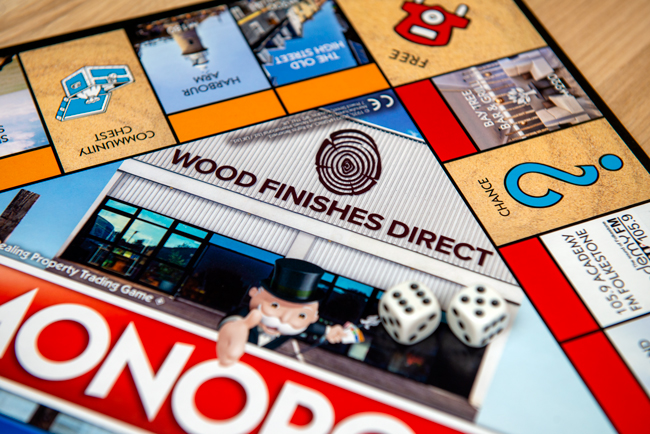 Wood Finishes Direct on the Monopoly Folkestone Edition board Game