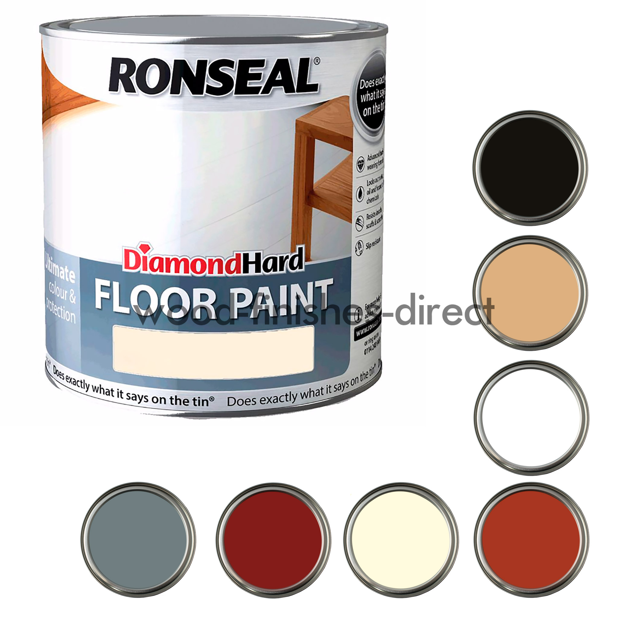 Ronseal Diamond Hard Floor Paint 2 5l Different Colours Free