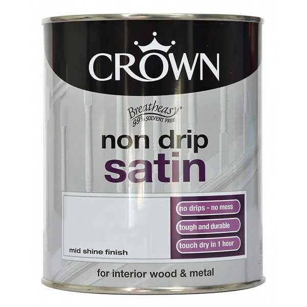 Crown Non Drip Satin Paint Pure Brilliant White