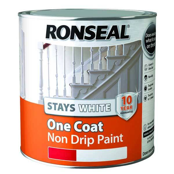 Ronseal stays white one coat non drip paint for One coat exterior paint reviews